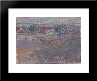 The Ploughed Field: Modern Black Framed Art Print by Horace Trenerry