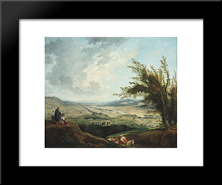 An Extensive Landscape Near Paris: Modern Black Framed Art Print by Hubert Robert