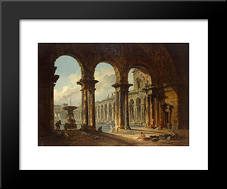 Ancient Ruins Used As Public Baths: Modern Black Framed Art Print by Hubert Robert