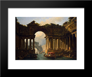 Architectural Landscape With A Canal: Modern Black Framed Art Print by Hubert Robert
