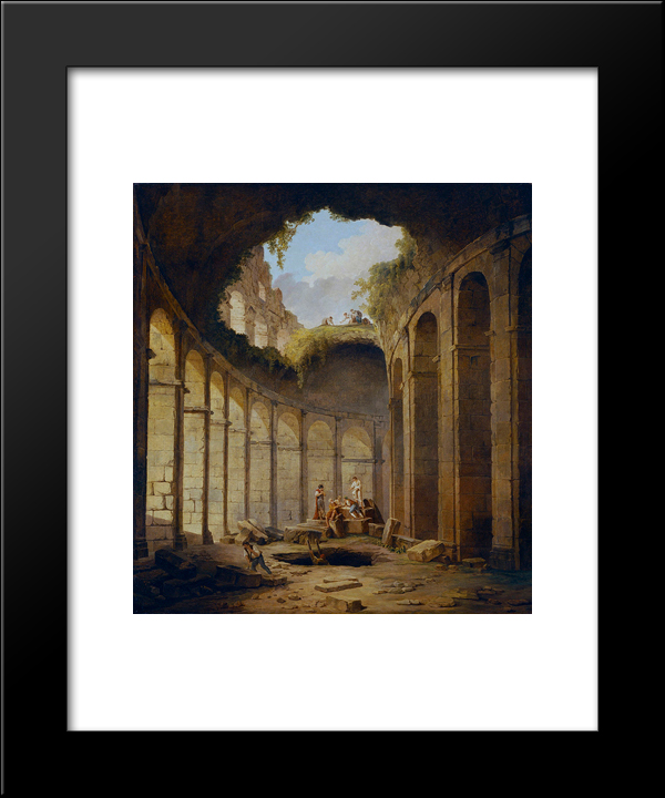 Colosseum, Rome: Modern Black Framed Art Print by Hubert Robert