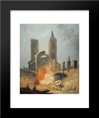 Demolition De L'Eglise Saint-Jean-En-Greve - Musee Carnavalet: Modern Black Framed Art Print by Hubert Robert
