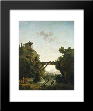 Fantastic View Of Tivoli: Modern Black Framed Art Print by Hubert Robert
