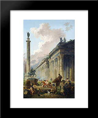Imaginary View Of Rome With Equestrian Statue Of Marcus Aurelius, The Column Of Trajan And A Temple: Modern Black Framed Art Print by Hubert Robert