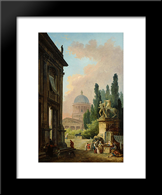 Imaginary View Of Rome With The Horse-Tamer Of The Monte Cavallo And A Church: Modern Black Framed Art Print by Hubert Robert