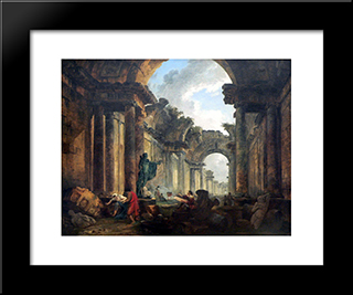 Imaginary View Of The Grand Gallery Of The Louvre In Ruins: Modern Black Framed Art Print by Hubert Robert