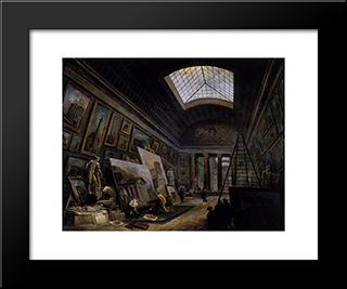 Imaginary View Of The Grande Galerie In The Louvre: Modern Black Framed Art Print by Hubert Robert