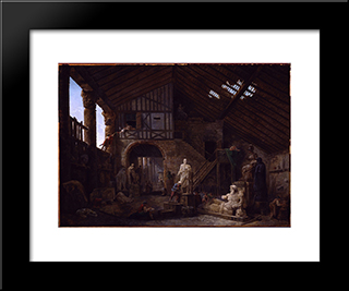 Studio Of An Antiquities Restorer In Rome: Modern Black Framed Art Print by Hubert Robert