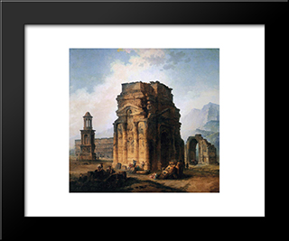 The Arc De Triomphe And The Theatre Of Orange: Modern Black Framed Art Print by Hubert Robert