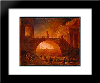 The Fire Of Rome, 18 July 64 Ad: Modern Black Framed Art Print by Hubert Robert