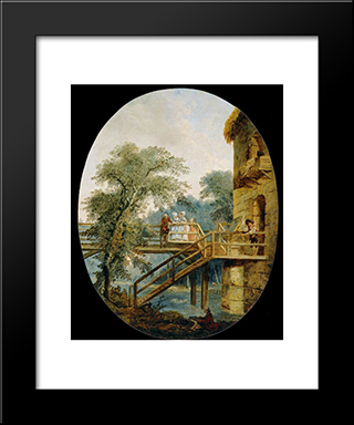 The Footbridge: Modern Black Framed Art Print by Hubert Robert