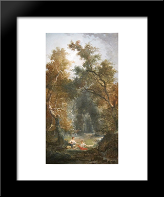 The Glade: Modern Black Framed Art Print by Hubert Robert
