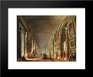 The Grande Galerie: Modern Black Framed Art Print by Hubert Robert