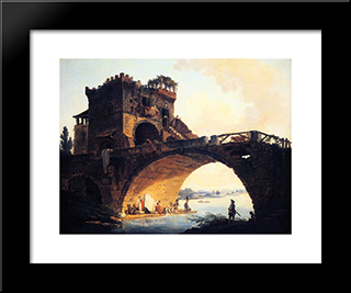 The Old Bridge: Modern Black Framed Art Print by Hubert Robert