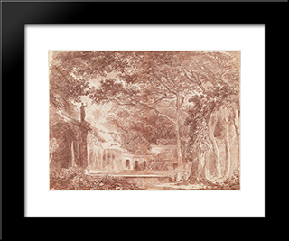 The Oval Fountain In The Gardens Of The Villa D'Este, Tivoli: Modern Black Framed Art Print by Hubert Robert