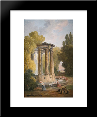 The Washer Women: Modern Black Framed Art Print by Hubert Robert