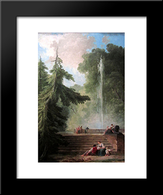 The Water Jet: Modern Black Framed Art Print by Hubert Robert