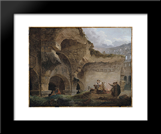 Washerwomen In The Ruins Of The Colosseum: Modern Black Framed Art Print by Hubert Robert