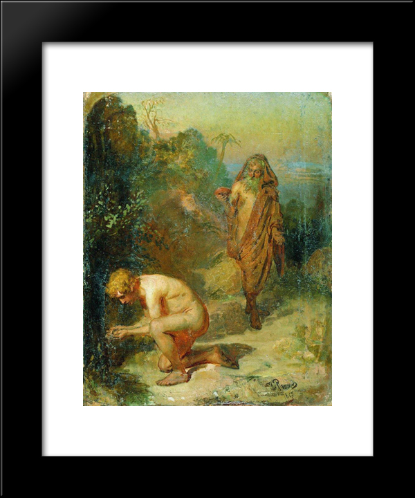 Diogenes And The Boy: Modern Black Framed Art Print by Ilya Repin