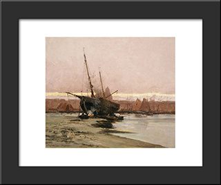 Boat At The Beach: Modern Black Framed Art Print by Ioannis Altamouras