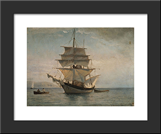Boat To Spetses: Modern Black Framed Art Print by Ioannis Altamouras
