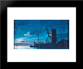 Night View: Modern Black Framed Art Print by Ioannis Altamouras