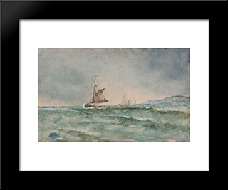 Sailboats: Modern Black Framed Art Print by Ioannis Altamouras