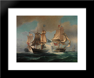 Sea Battle: Modern Black Framed Art Print by Ioannis Altamouras