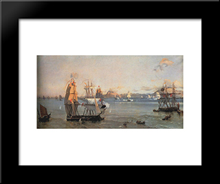 Sea Battle At The Bay Of Patrae: Modern Black Framed Art Print by Ioannis Altamouras
