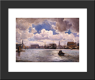 The Port Of Copenhagen: Modern Black Framed Art Print by Ioannis Altamouras