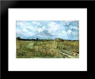 Flowering Field: Modern Black Framed Art Print by Ion Andreescu
