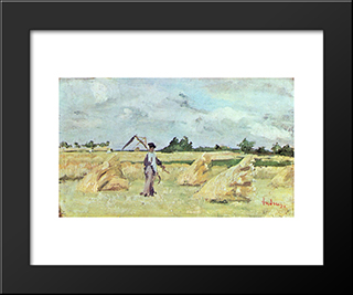 Haymaking: Modern Black Framed Art Print by Ion Andreescu