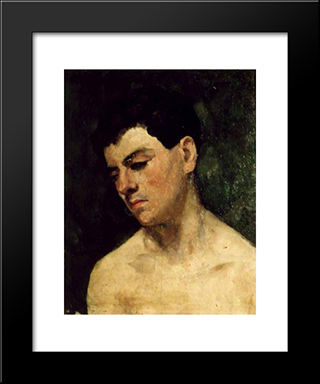 Head Of A Young Man: Modern Black Framed Art Print by Ion Andreescu