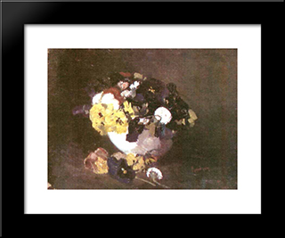 Pansies: Modern Black Framed Art Print by Ion Andreescu