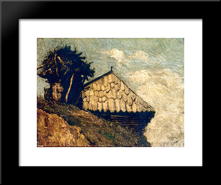 Peasant Hut: Modern Black Framed Art Print by Ion Andreescu