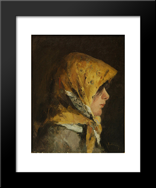 Portrait Of A Girl: Modern Black Framed Art Print by Ion Andreescu