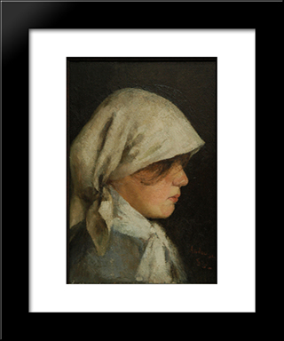 Portrait Of A Peasant Girl: Modern Black Framed Art Print by Ion Andreescu
