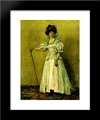 Portrait Of Woman In A Costume: Modern Black Framed Art Print by Ion Andreescu