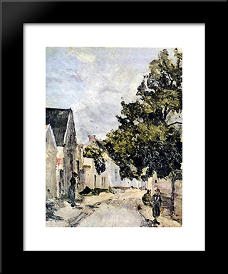 Street From Barbizon During Summer Time: Modern Black Framed Art Print by Ion Andreescu