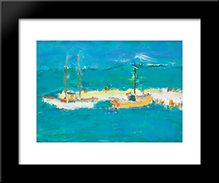 Boats At The Pontoon Dock: Modern Black Framed Art Print by Ion Pacea