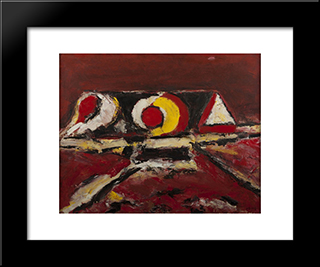 Composition En Rouge: Modern Black Framed Art Print by Ion Pacea