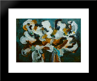 Flori: Modern Black Framed Art Print by Ion Pacea