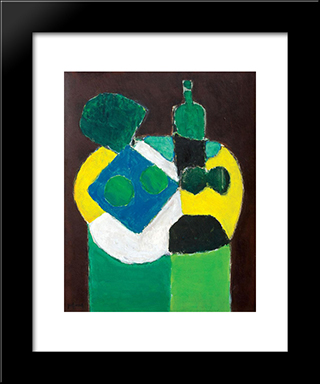 Gueridon With Green Bottle: Modern Black Framed Art Print by Ion Pacea