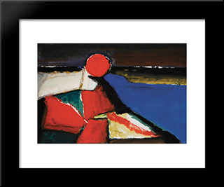 Marina With Red Sun: Modern Black Framed Art Print by Ion Pacea