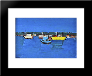 Marina With Yellow Boat: Modern Black Framed Art Print by Ion Pacea