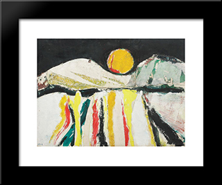 Midnight Sun: Modern Black Framed Art Print by Ion Pacea