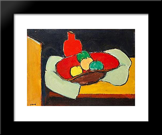 Nature Morte Aux Pommes: Modern Black Framed Art Print by Ion Pacea