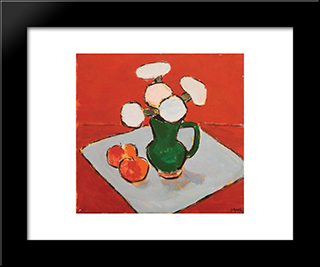 Still Life With Flowers And Apples: Modern Black Framed Art Print by Ion Pacea