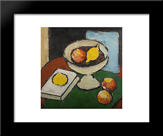 Still Life With Fruit Stand, Book And Fruit: Modern Black Framed Art Print by Ion Pacea