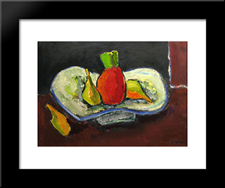 Still Life With Pineapple: Modern Black Framed Art Print by Ion Pacea